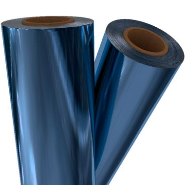 "Medium Blue Metallic 12"" x 500' Toner Fusing/Sleeking Foil - 3"" Core (BLU-80-3-12) Image 1"