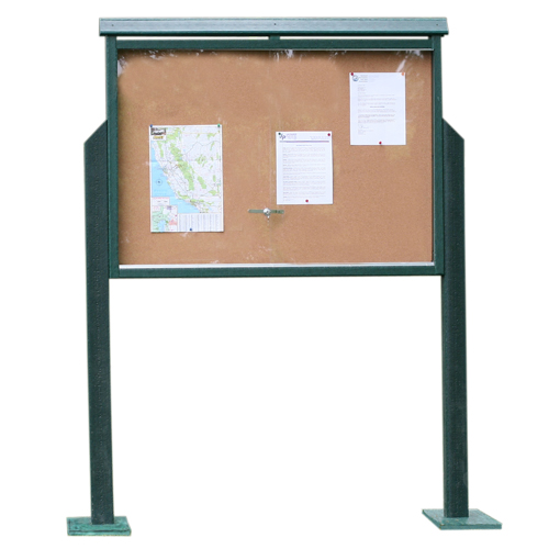 Frog Furnishings Medium One-Sided Message Center w/ Two Posts - Green (JH-PBMC2PGRE) Image 1