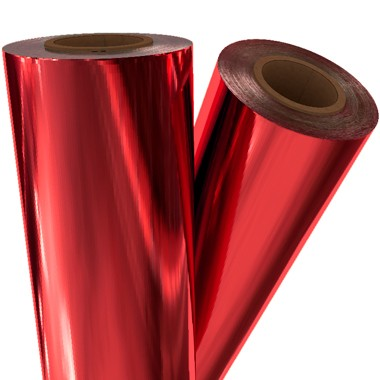 "Medium Red Metallic 12"" x 100' Laminating / Toner Fusing Foil (RED-40-12) Image 1"
