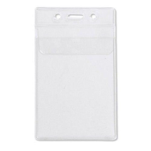 Military Size Vertical Clear Vinyl Badge Holder w/ Flap - 100pk (1840-5150) Image 1