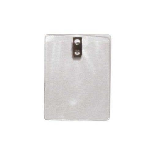 Military Size Vertical Clear Vinyl Badge Holders with Clips - 100pk (1810-1400) Image 1