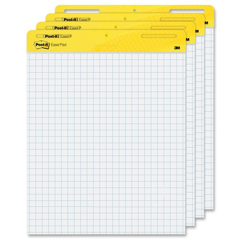 "Post-It 25"" x 30"" White Self-Stick Easel Pad with Grid Lines (MMM-PWSSEPGL) Image 1"