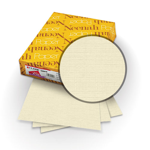 "Neenah Paper Classic Linen Monterey Sand 9"" x 11"" 80lb Covers with Windows - 25 Sets (MYCLINMSW9X11) Image 1"