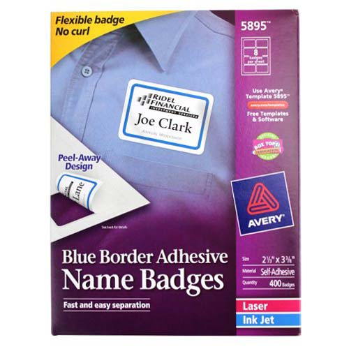 "Avery Name Badge Label 2-1/3"" x 3-3/8"" Blue Border 8up 400pk (AVE-5895) Image 1"