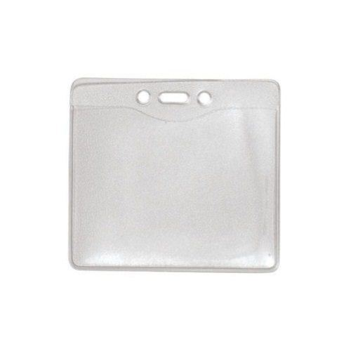 Name Badge Size Horizontal Clear Vinyl Badge Holders w/ Holes - 100pk (1815-1400) Image 1