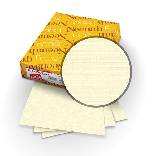 "Neenah Paper Classic Linen Natural White Pearl 8.75"" x 11.25"" 84lb Covers with Windows - 25 Sets (MYCLINNWPW8.75X11.25) Image 1"