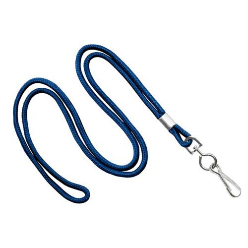 "Navy Blue 1/8"" Round Non-Breakaway Lanyard With Swivel Hook - 100pk (MYIDNL7SNBLU) - $24.01 Image 1"