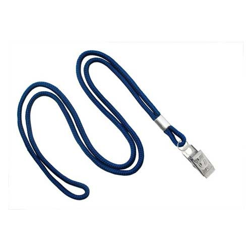 "Navy Blue Round Cord Lanyard with Clip - 1/8"" - 100pk (MYIDNL7CNBLU) - $24.01 Image 1"