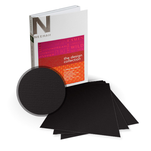 "Neenah Paper Oxford Black Textured 5.5"" x 8.5"" 100lb Card Stock - 18 Sheets (NOCBK400-C) Image 1"