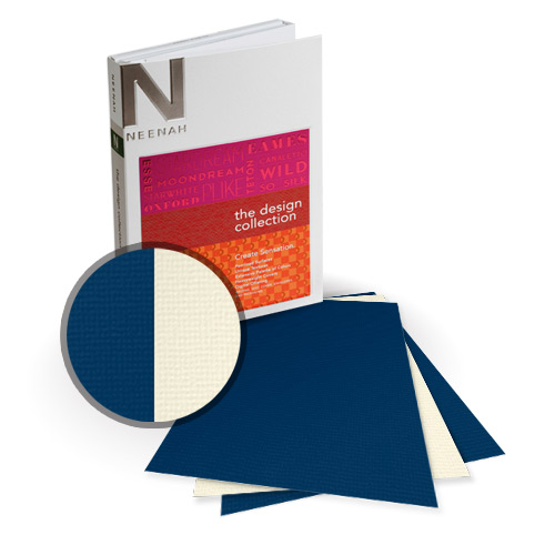 "Neenah Paper Oxford Blue Chip/Cream 12"" x 18"" 130lb Duplex Card Stock - 4 Sheets (NOCBCCM520-G) Image 1"
