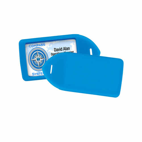 Neon Blue Rigid Plastic Luggage Tag Holder - 100pk (1840-6211) Image 1