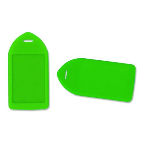 Neon Green Rigid Plastic Luggage Tag Holder - 100pk (1840-6212) Image 1