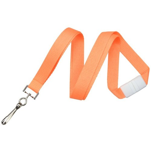"Neon Orange 5/8"" Breakaway Lanyard With Sewn Nickel-Plated Steel Swivel Hook - 100pk (2138-5049) Image 1"