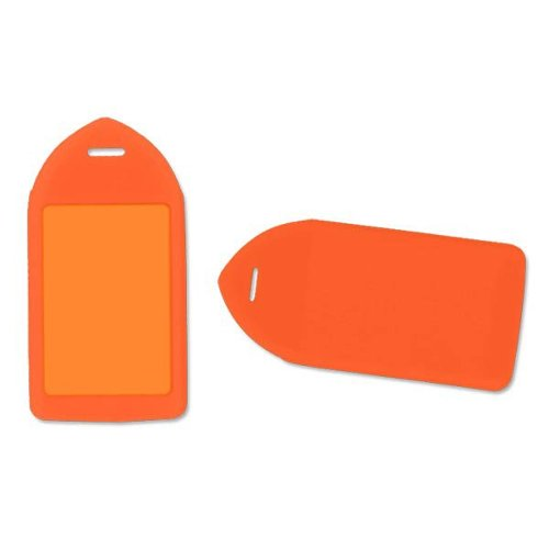 Neon Orange Rigid Plastic Luggage Tag Holder - 100pk (1840-6214) Image 1