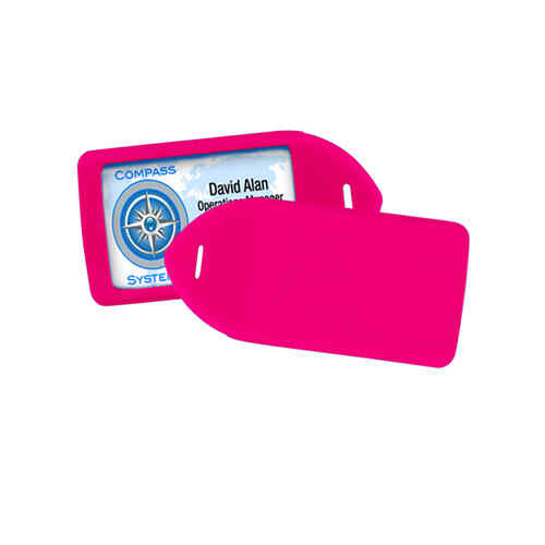 Neon Pink Rigid Plastic Luggage Tag Holder - 100pk (1840-6210) Image 1