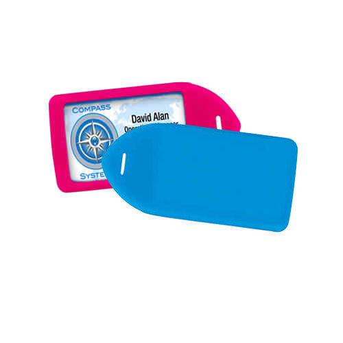 Neon Colored Rigid Plastic Luggage Tag Holders - 100pk (MYNRLT) Image 1