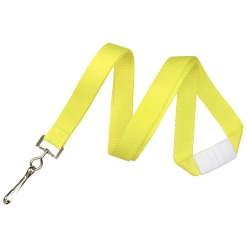 "Neon Yellow 5/8"" Breakaway Lanyard With Sewn Nickel-Plated Steel Swivel Hook - 100pk (2138-5048) Image 1"