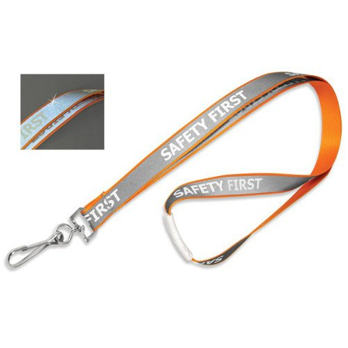 Orange Reflective Lanyard with Safety First Imprint and Nickel-Plated Steel Swivel Hook - 100pk (MYID21352529) - $148 Image 1