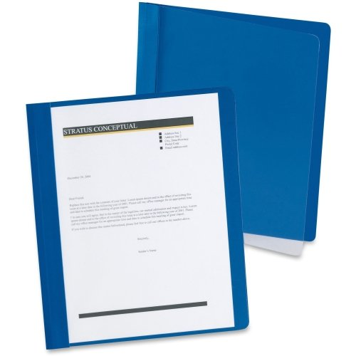 "Oxford 1/2"" Dark Blue Extra-Wide Clear Front Report Cover - 25pk (OXF5354023X) Image 1"