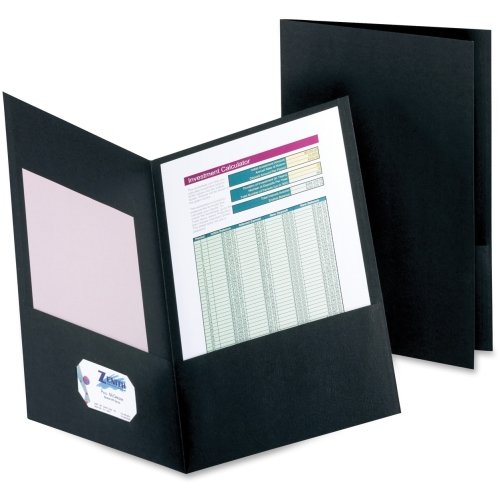 "Oxford 8.5"" x 14"" Black Double Pocket Leatherine Portfolio - 25pk (OXF5012705) Image 1"