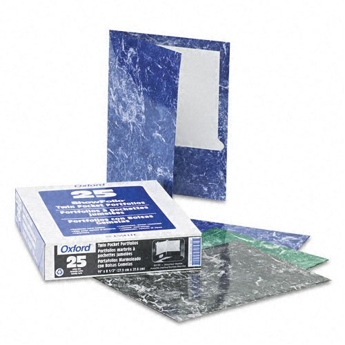 Oxford Assorted Marble Laminated Portfolio - 25pk (ESS-50190) Image 1