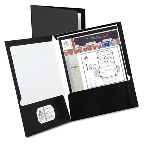 Oxford Black Laminated Two-Pocket Portfolio - 25pk (ESS-51706) Image 1