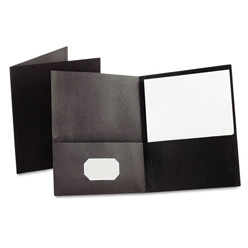 Oxford Black Textured Paper Letter Size Twin-Pocket Folders - 25pk (ESS-57506) Image 1