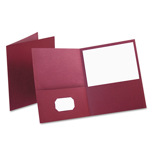 Oxford Burgundy Textured Paper Letter Size Twin-Pocket Folders - 25pk (ESS-57557) Image 1