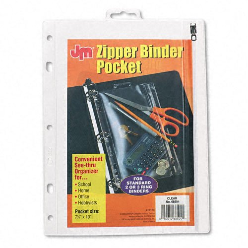 "Oxford Clear 10.5"" x 8"" Punched Zipper Binder Pocket (ESS-68504) Image 1"