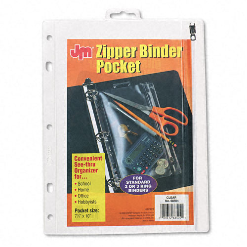 Oxford Clear Punched Zipper Binder Pocket (ESS-PZBPCL) - $2.99 Image 1