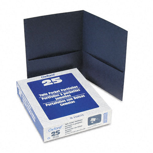 Oxford Dark Blue Textured Paper Letter Size Twin-Pocket Folders - 25pk (ESS-57538) Image 1
