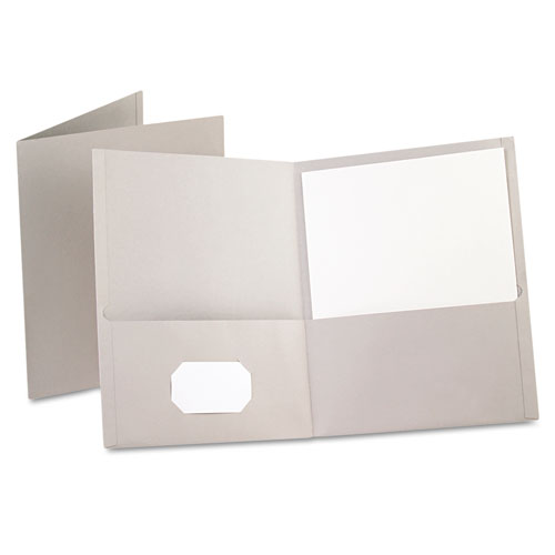 Oxford Gray Textured Paper Letter Size Twin-Pocket Folders - 25pk (ESS-57505) Image 1