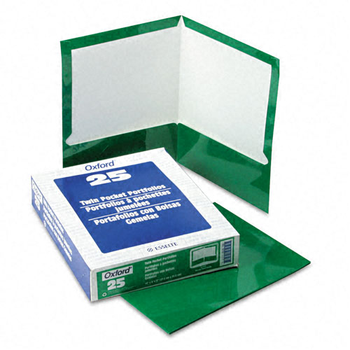 Oxford Green Laminated Two-Pocket Portfolio - 25pk (ESS-51717) Image 1