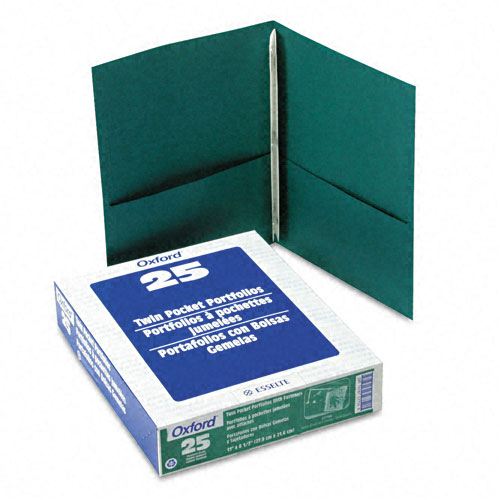 Oxford Hunter Green Twin-Pocket Tang Fasteners Portfolios - 25 pk (ESS-57756) - $23.94 Image 1