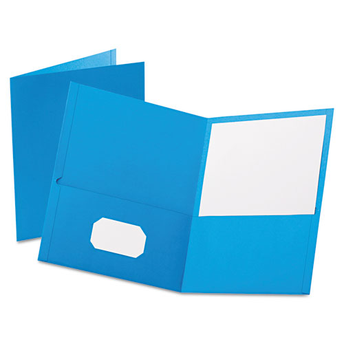 Oxford Light Blue Textured Paper Letter Size Twin-Pocket Folders - 25pk (ESS-57501) Image 1