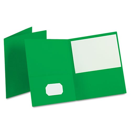 Oxford Green Textured Paper Letter Size Twin-Pocket Folders - 25pk (ESS-57503) Image 1