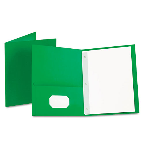 Oxford Light Green Twin-Pocket Tang Fasteners Portfolios - 25 pk (ESS-57703), Oxford brand Image 1