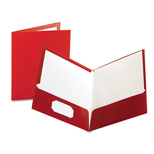 Oxford Maroon Laminated Two-Pocket Portfolio - 25pk (ESS-51718) Image 1