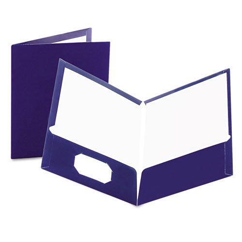 Oxford Navy Laminated Two-Pocket Portfolio - 25pk (ESS-51743) Image 1