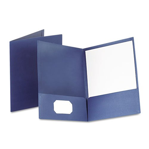 Oxford Navy Linen Twin-Pocket Portfolio - 25pk (ESS-53443), Oxford brand Image 1