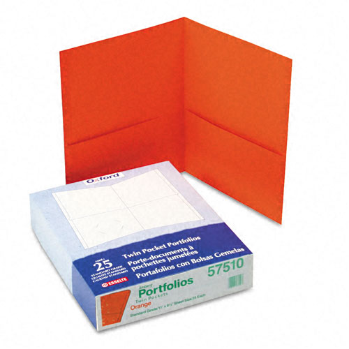 Oxford Orange Textured Paper Letter Size Twin-Pocket Folders - 25pk (ESS-57510), Oxford brand Image 1