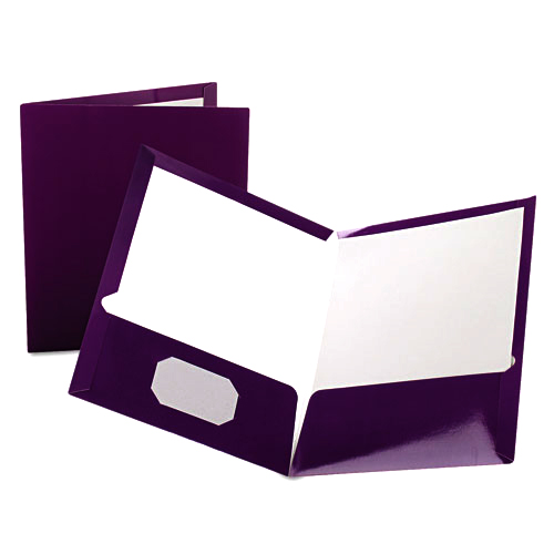 Oxford Purple Laminated Two-Pocket Portfolio - 25pk (ESS-51726) Image 1