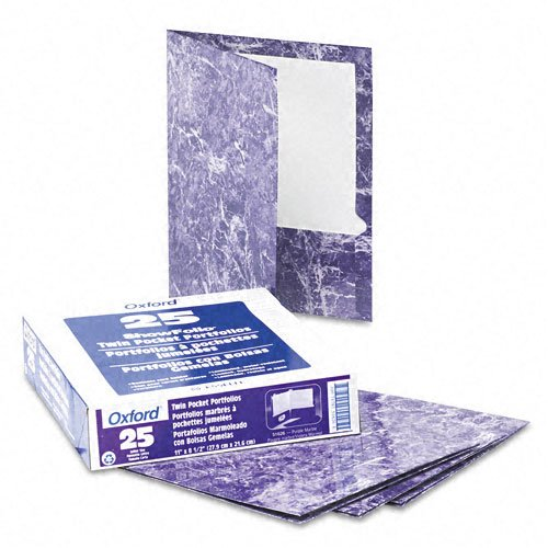 Oxford Purple Marble Laminated Portfolio - 25pk (ESS-51626) Image 1