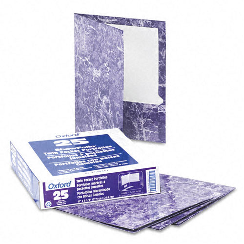Oxford Purple Marble Laminated Portfolio - 25pk (ESS-51626), Oxford brand Image 1