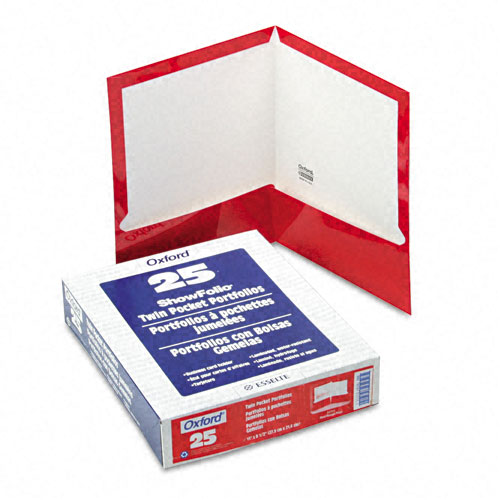 Oxford Red Laminated Two-Pocket Portfolio - 25pk (ESS-51711) Image 1