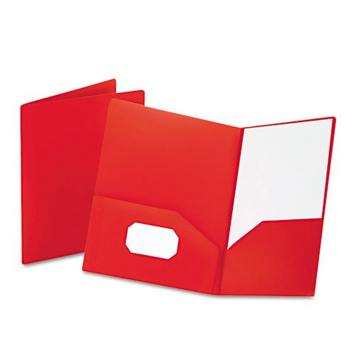 Oxford Red Poly Twin-Pocket Portfolio (ESS-57411), Oxford brand Image 1