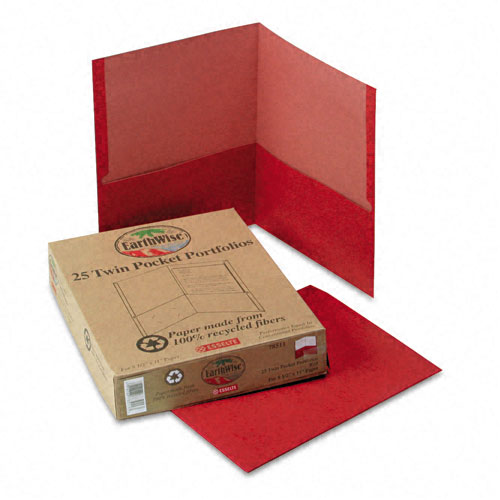 Oxford Red Recycled Twin-Pocket Portfolio - 25pk (ESS-78511), Oxford brand Image 1