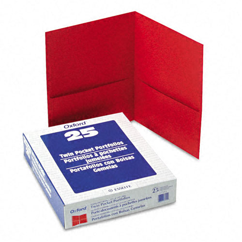 Oxford Red Textured Paper Letter Size Twin-Pocket Folders - 25pk (ESS-57511), Oxford brand Image 1