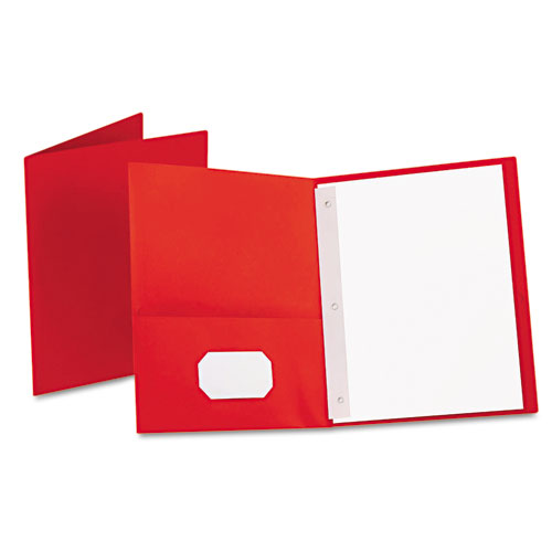 Oxford Red Twin-Pocket Tang Fasteners Portfolios - 25pk (ESS-57711), Oxford brand Image 1