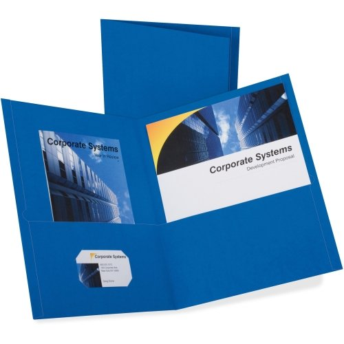 Oxford Royal Blue Textured Paper Letter Size Twin-Pocket Folders - 25pk (OXF57512), Oxford brand Image 1